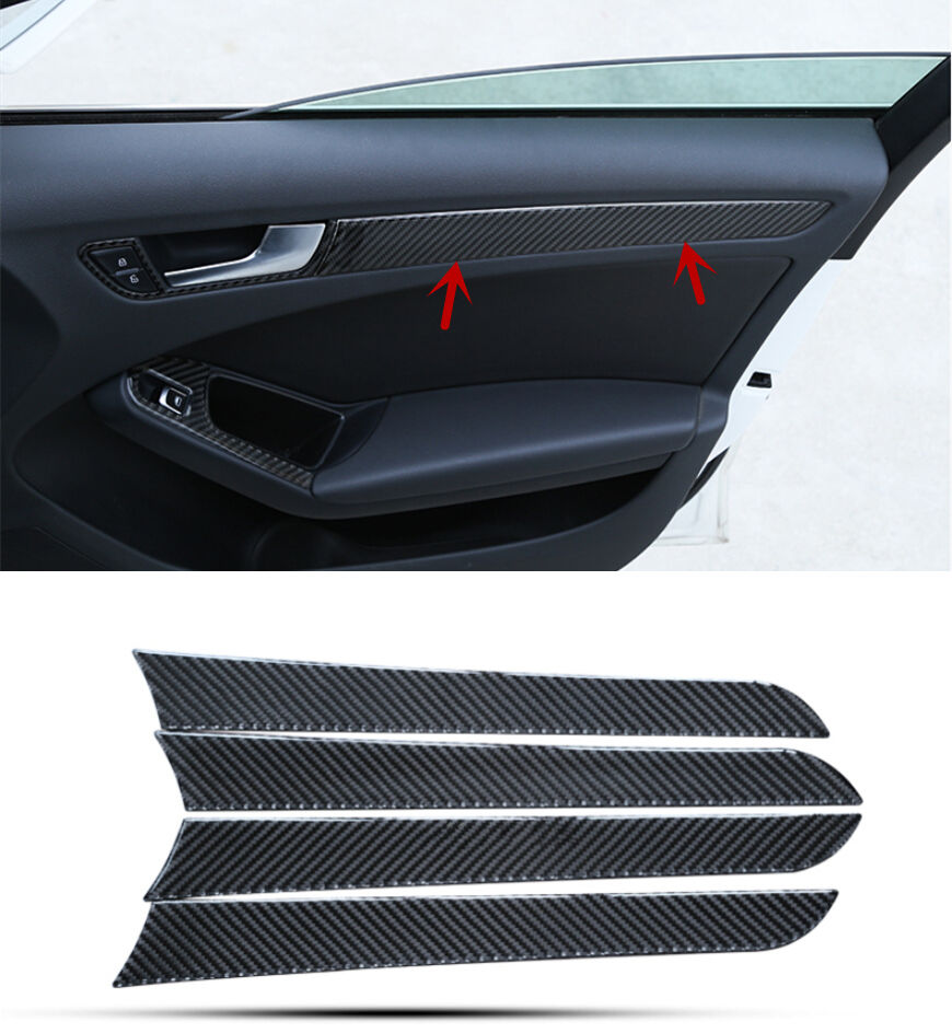 Car Carbon Fiber Interior Door Panel Decal Cover Trim 4pcs For Audi A4 B8 2009-2015 epr car styling for mazda rx7 fc3s carbon fiber triangle glossy fibre interior side accessories racing trim