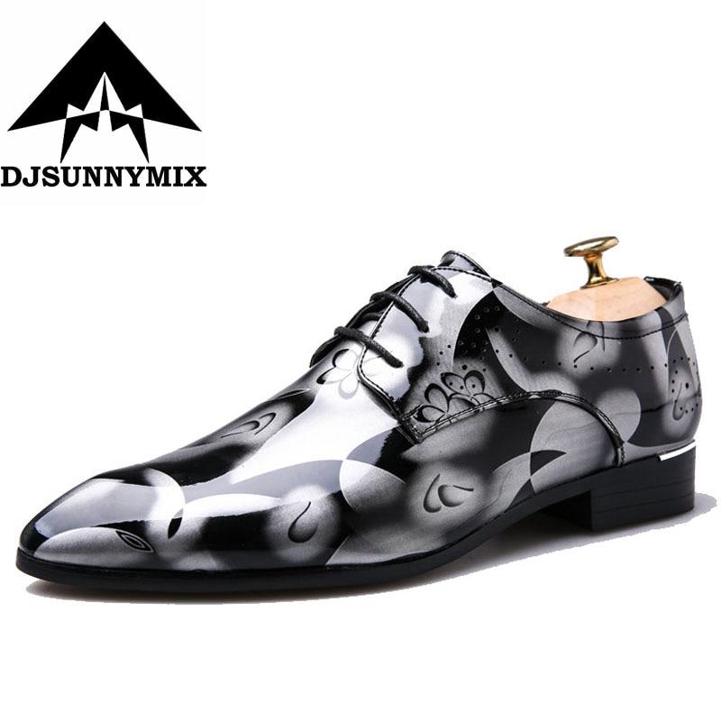 DJSUNNYMIX Big size 39-50 Men Dress Wedding Shoes Luxury Fashion Groom Party male Shoes