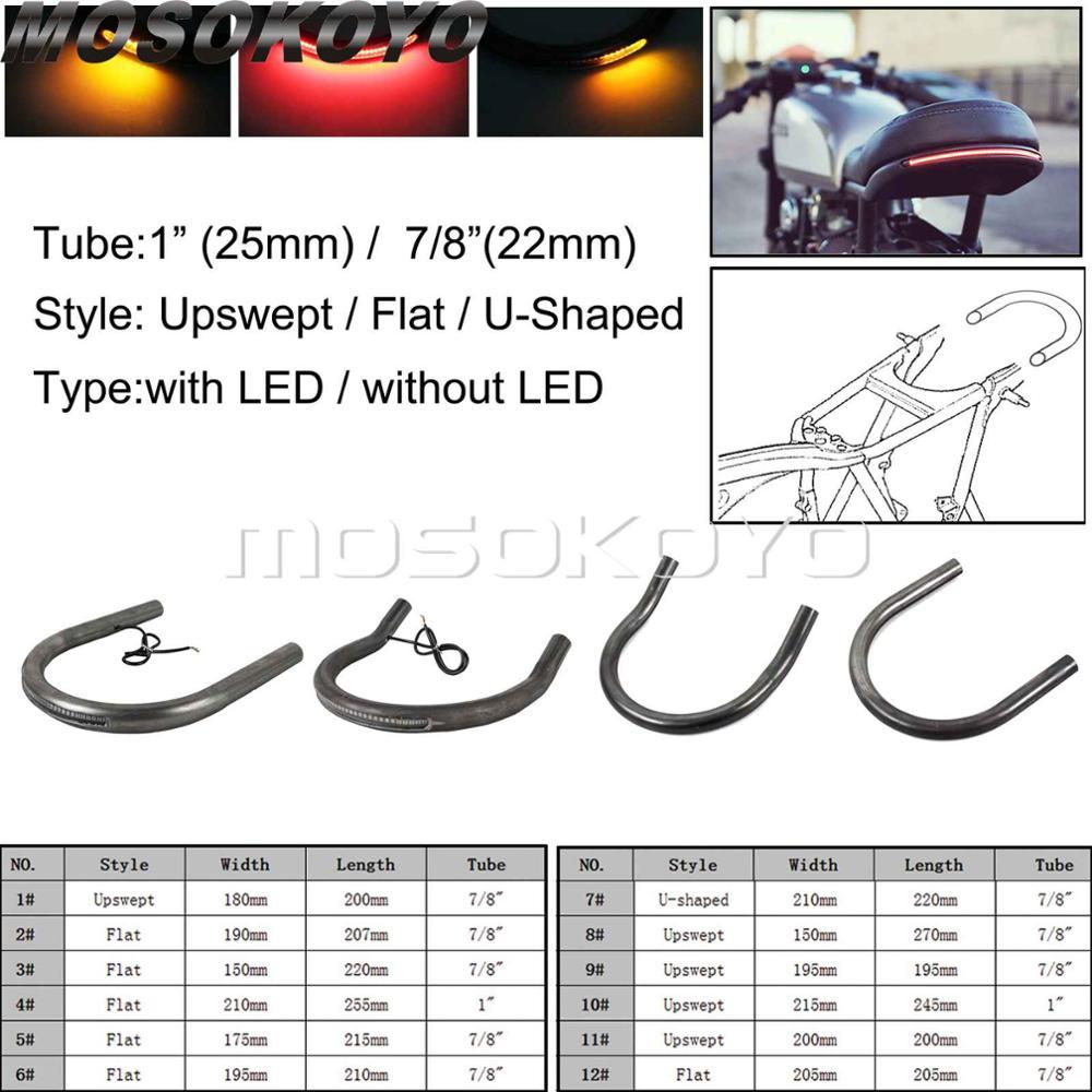 175mm Flat Rear Motor Seat Frame Hoop Loop+LED Turn Signal Light Strip Custom