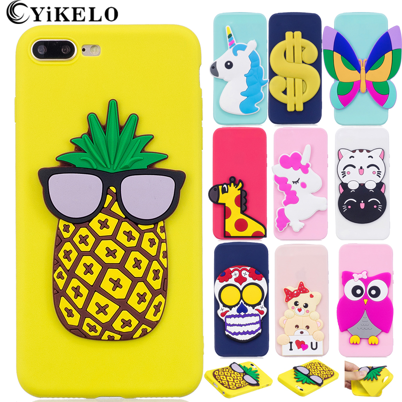 Galleria fotografica YiKELO Case for iPhone 7 Plus Lovely 3D Silicone Cartoon Cute Cat Butterfly Giraffe Unicorn Soft TPU Phone Cover for iphone7Plus
