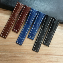 22mm 24mm Black Brown Blue Genuine Leather Watchband Wristband For Breitling Watch Strap Avenger Belt Navitimer Bracelet