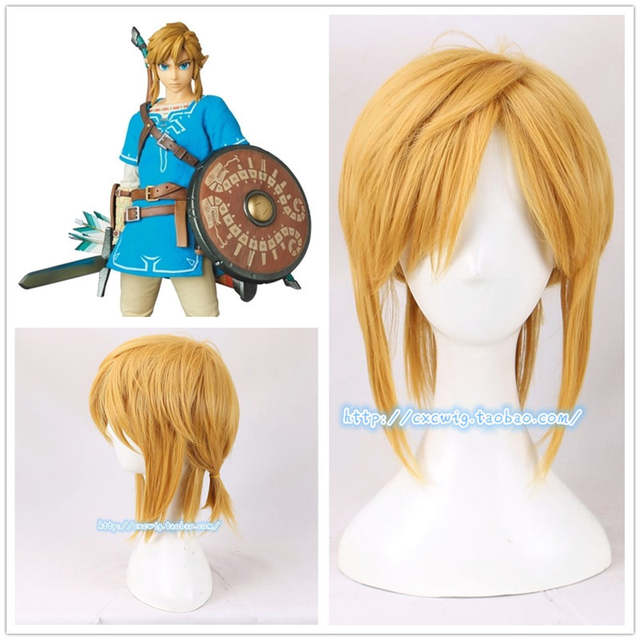 Us 18 95 30 Off The Legend Of Zelda Breath Of The Wild Link Cosplay Golden Wig Blonde Hair Ponytail Role Play Hair Wig Cap 3 Types In Game