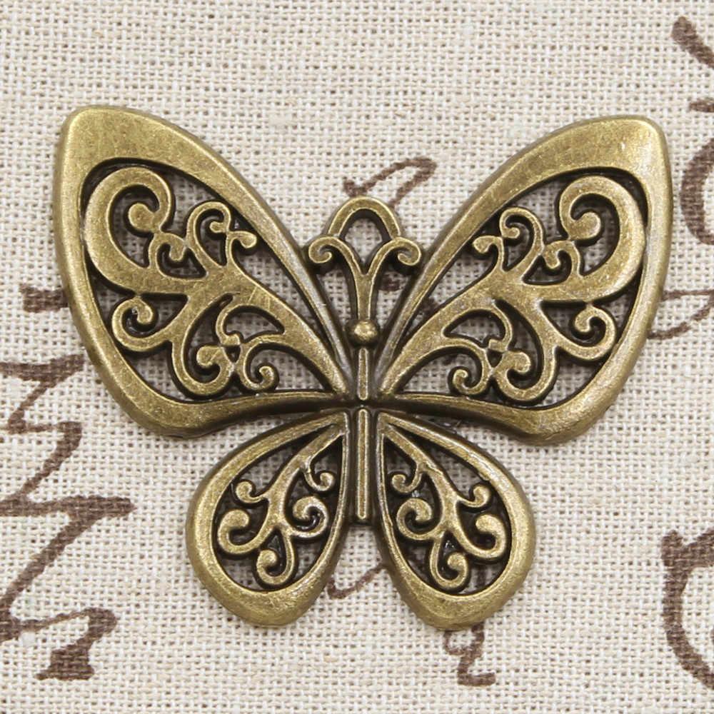 2 uds encantos hueco mariposa 50x57mm colgante antiguo adecuado, Vintage tibetano color plata bronce, joyería hecha a mano DIY
