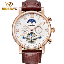BINSSAW Men Automatic Mechanical Watch Fashion Luxury Brand Leather Business Waterproof Sports Male Watches Relogio Masculino стоимость