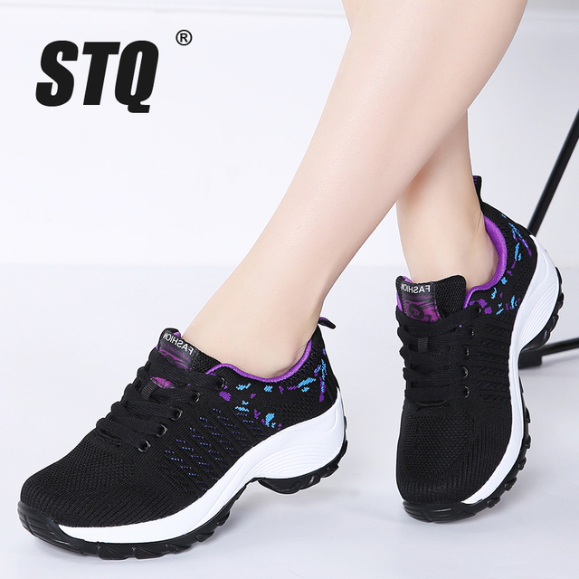STQ 2020 Autumn Women Flat Platform Sneakers For Women Lightweight Comfortable Breathable Ladies Laces Casual Sneakers 1856