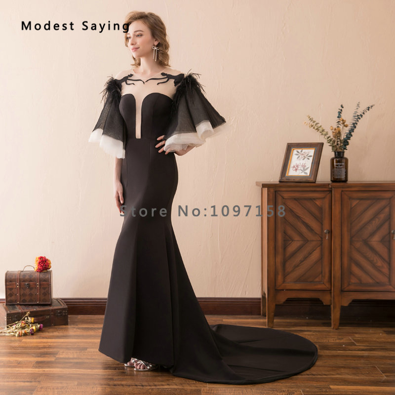 New Gothic Black Feather Evening Dresses 2018 Featuring Batwing ... 0ce43ff30bc3