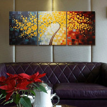 3 Panels Wall Art Picture Hand Painted Modern Art Decorative Paintings Flower Palette Knife Oil Painting Canvas For Home Decor