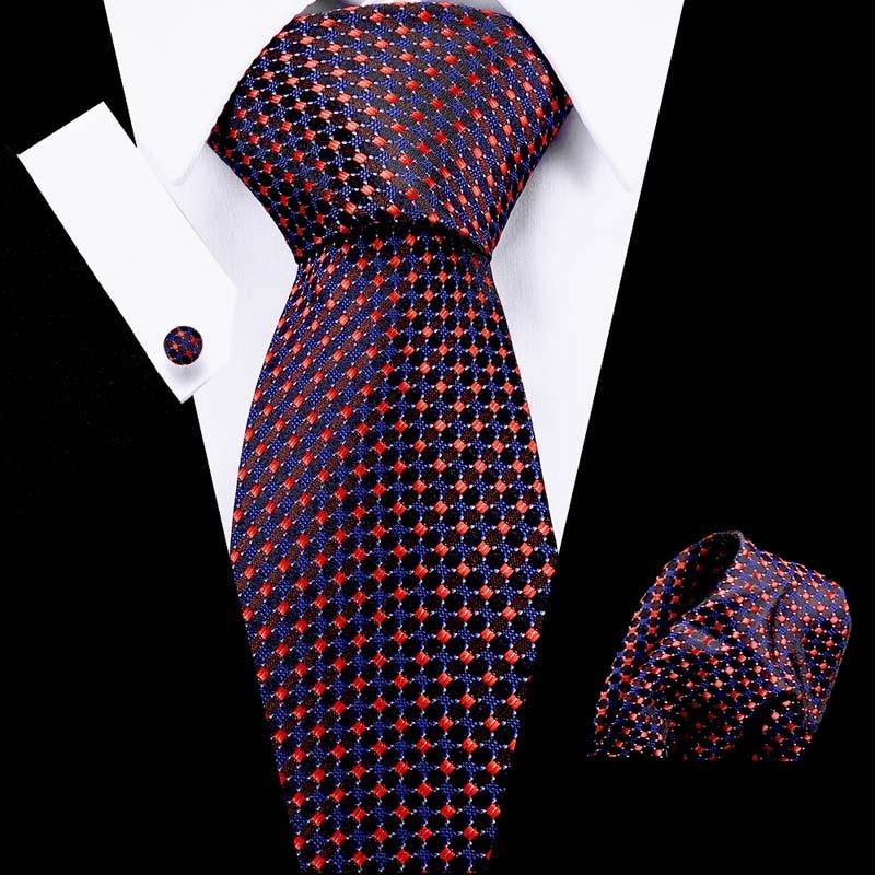 2020 New Arrival 50 Styles Blue Ties For Men 100% Silk Male Men's Tie Hanky Cufflinks Neck Tie Pocket Square Set