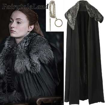Sansa Stark Cloak with Necklace Cosplay Game of Thrones Season 8 Costume Jacket Sansa Stark cosplay Coat Fancy Cloak - DISCOUNT ITEM  15% OFF All Category