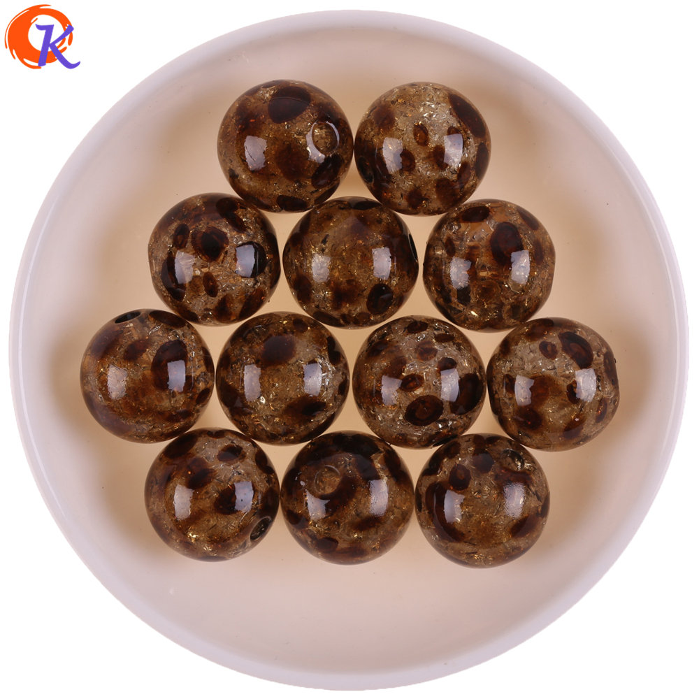 Cordial Design 20MM 50Pcs Acrylic Beads/Jewelry Making/DIY Accessories/Crack Leopard Print Effect/Hand Made/Earring Findings