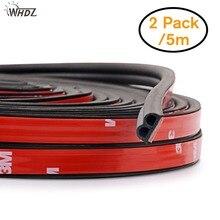 Самоклеящаяся Автомобильная резиновая уплотнительная лента WHDZ, уплотнитель для окон и дверей автомобиля, резиновая полоска для защиты от столкновений, 5 м