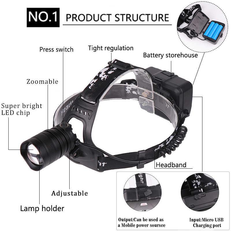 Nuevo faro LED XHP70.2, linterna recargable USB XHP70/XHP50, linterna de cabeza con Zoom, linterna impermeable