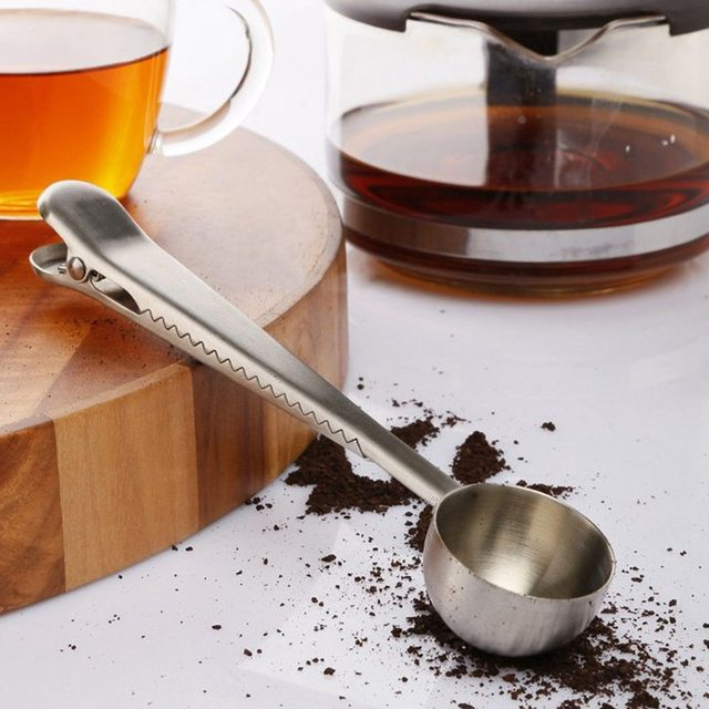 Coffee Scoop with Bag Clip Sealing stainless steel kitchen gadgets