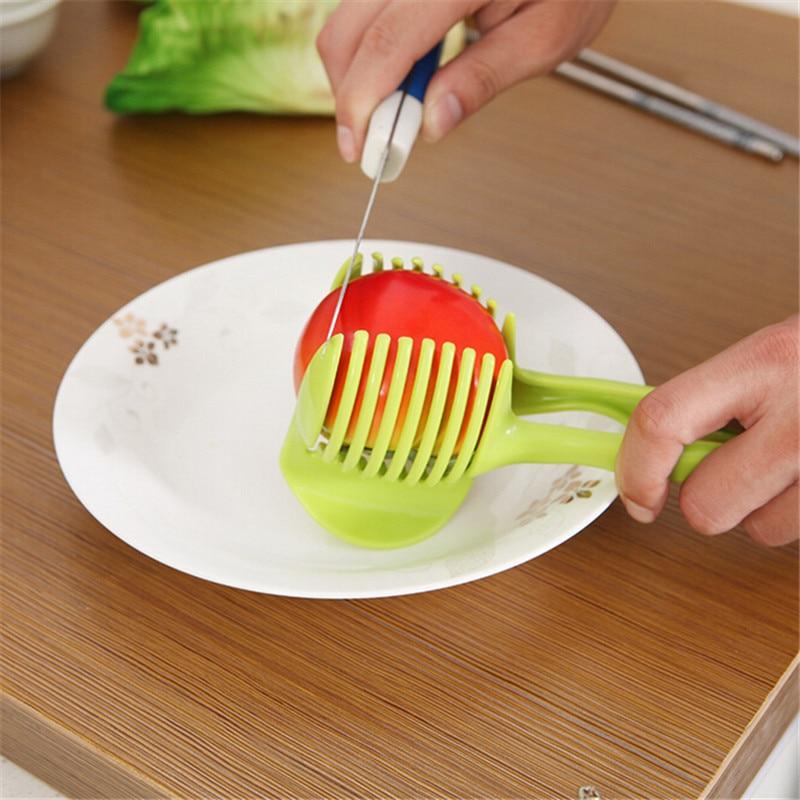 1ks Tomato Slicer Fruits Cutter Stand Assistant Lounged Tomato Citron Shreadders Slicer Náhodný Barva