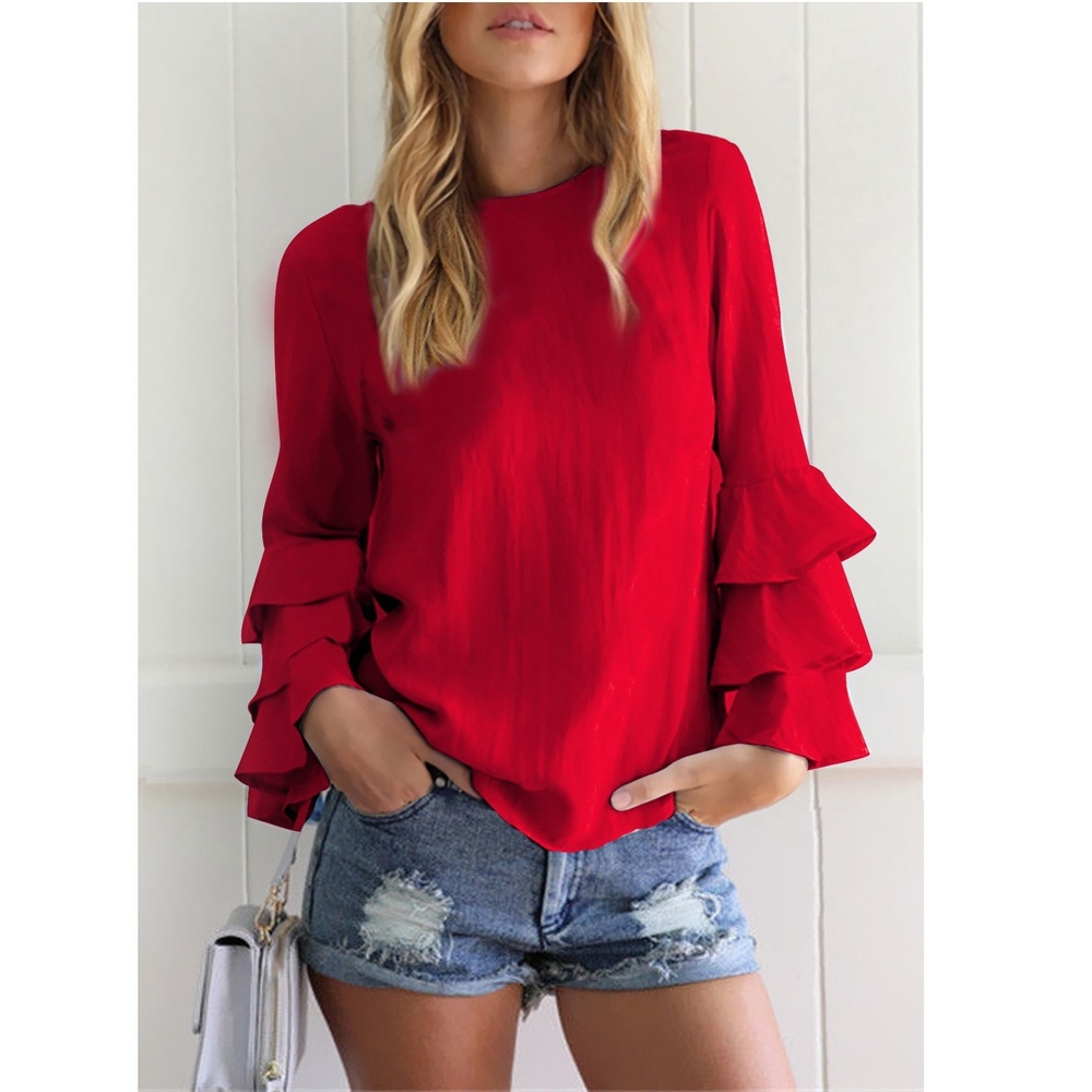 ZOGAA Ladies   Blouse   Volant Long Sleeve   Blouse     Shirts   Ruffles BOHO Spring Plus Size Tops Solid Color Elegant   Shirt   Women   Blouse