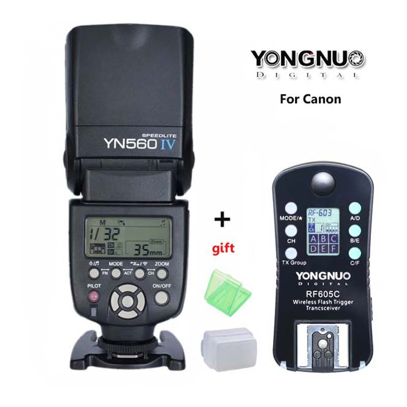 Original YONGNUO YN560 IV,YN-560 IV Master Radio Flash Speedlite + RF-605 Wireless Trigger for Canon 1000D 650D 600D 550D DSLR yongnuo 3x yn 600ex rt ii 2 4g wireless hss 1 8000s master flash speedlite yn e3 rt flash trigger for canon eos camera 5d 6d