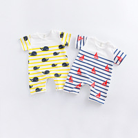 Baby Clothes 2017 Summer New Baby Rompers Cartoon Little Dolphins Casual Cute Sailor Wind Baby Short