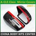 Универсальные зеркальные Чехлы Mercedes для Benz W176 W117 W204 W205 W207 W212 W218  сменные глянцевые черные чехлы из углеродного волокна