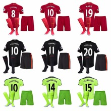 Free patches 2016 Top Best Qualit Liverpooles adult kit+sock Soccer jersey 16 17 Home Away 3RD Man kit+sock Shirt Free shipping