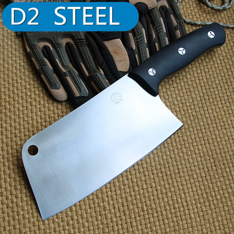 Bolte chef cleaver paring font b knife b font 100 real D2 blade G10 handle tool