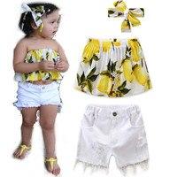 2017 New Style Baby Girls Fresh Sweet Lemon Top White Shorts Headwear Set Fashion Summer Kids