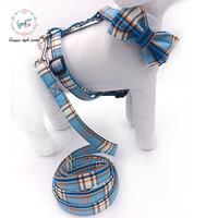 blue plaid dog harness with bowtie and basic dog leash adjustable buckle pet supplies s,m,l