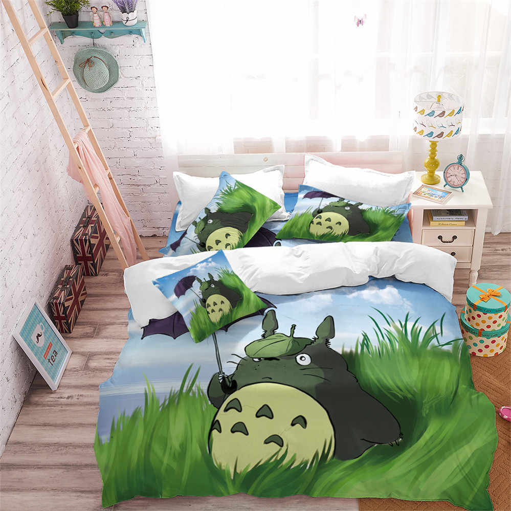 Kids Totoro Bedding Set Cartoon Green Natural Scenery Duvet Cover Set Susuwatari Printed Bedding King Queen Quilt Cover 3Pcs