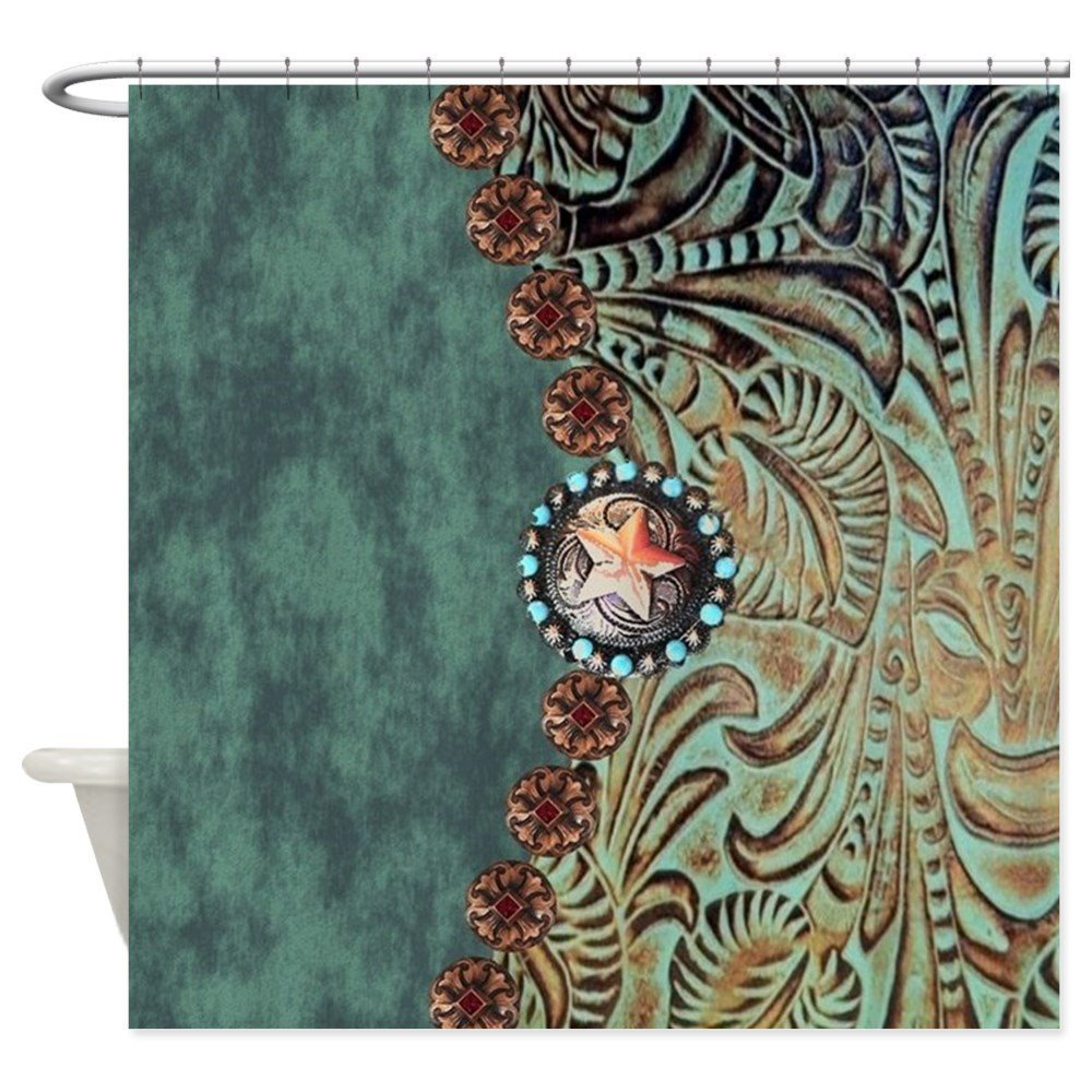 Country Western Turquoise Leather - Decorative Fabric Shower Curtain (69x70)