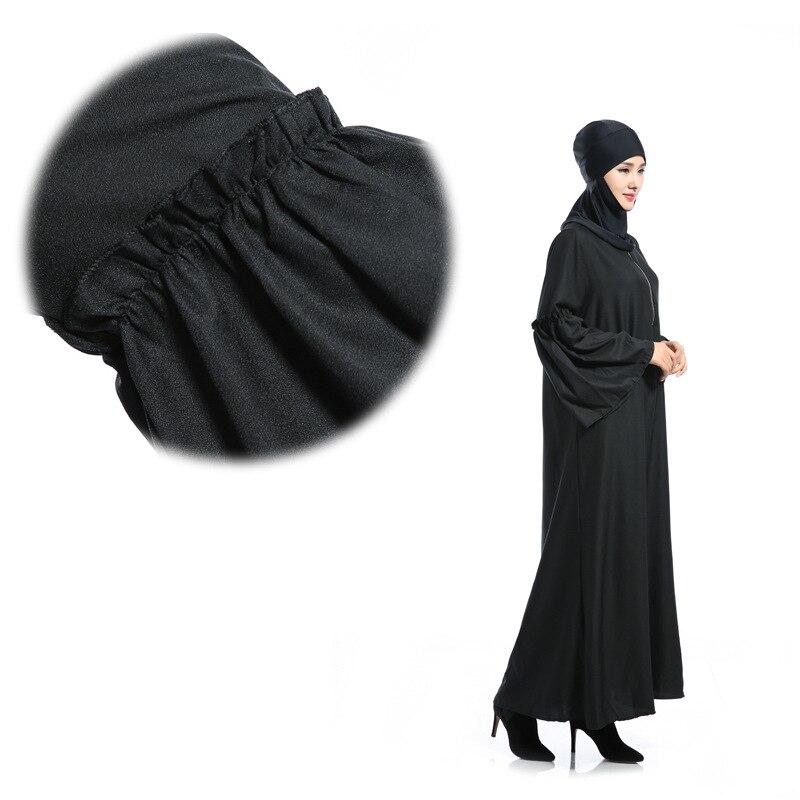 Les nouvelles caractéristiques de robe musulmane à manches longues des robes lâches arabes couleur Pure lumière du soleil chanvre dimanche vêtements - 3