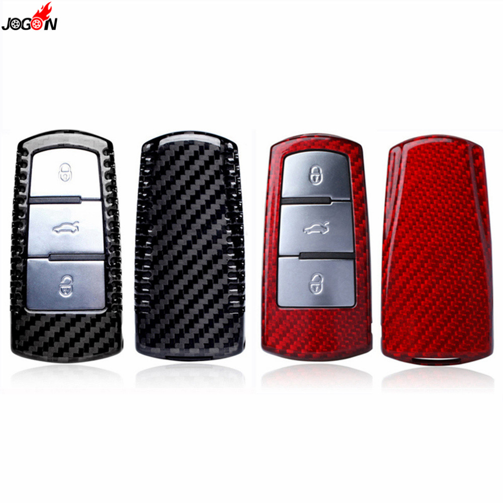 Red & Black Carbon Fiber Protector Remote Key Fob Case Shell Cover For VW VOLKSWAGEN CC 2009 2012 Passat B6 2006 2010