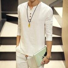Лидер продаж 2017 г. летние новые туфли в индивидуальном стиле китайские винтажные стильные мужские рубашки v-образным вырезом с длинным рукавом льняные рубашки для мужчин большие размеры Одежда 5XL