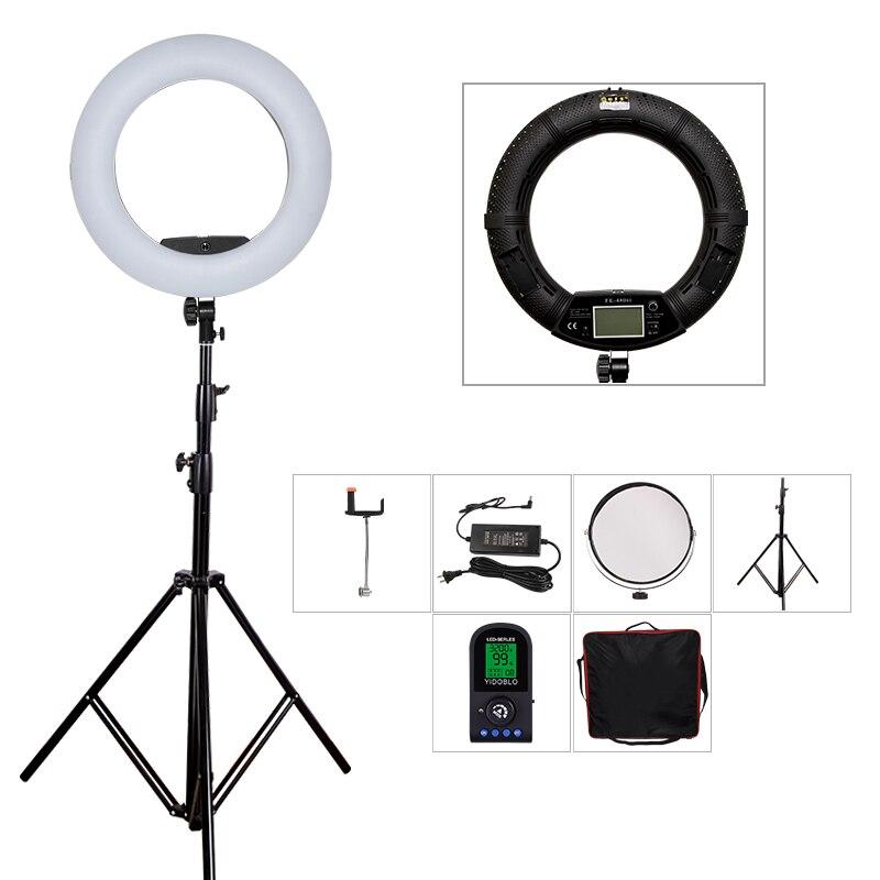 Yidoblo Black FE-480II LCD Photographic LED Ring Lamp +280cm Tripod + bag set 5600K Camera Light 480 LED Video Light Lamp Kit