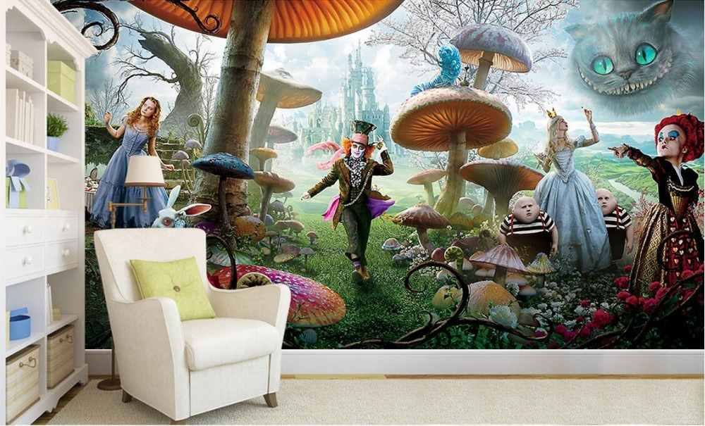 Alice in wonderland wall mural for Custom mural wall covering