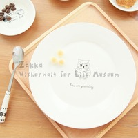1Pcs KEYAMA beautifully cute owls cake Knife fork pattern ceramic white breakfast plates Kitchen cutlery Tableware decoration