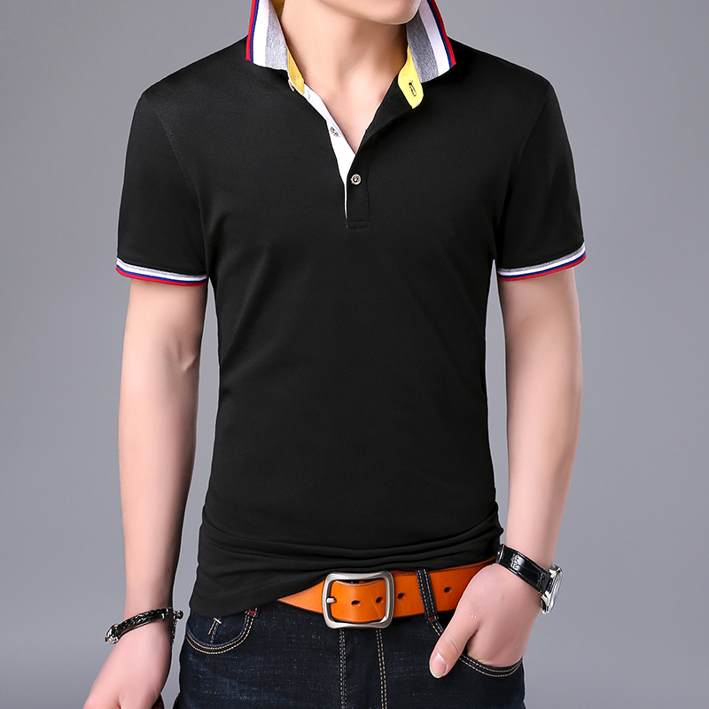 2019 New Fashions Brand   Polo   Shirt Mens Cotton Black Summer Slim Fit Short Sleeve British Style   Polos   Casual Men's Clothing