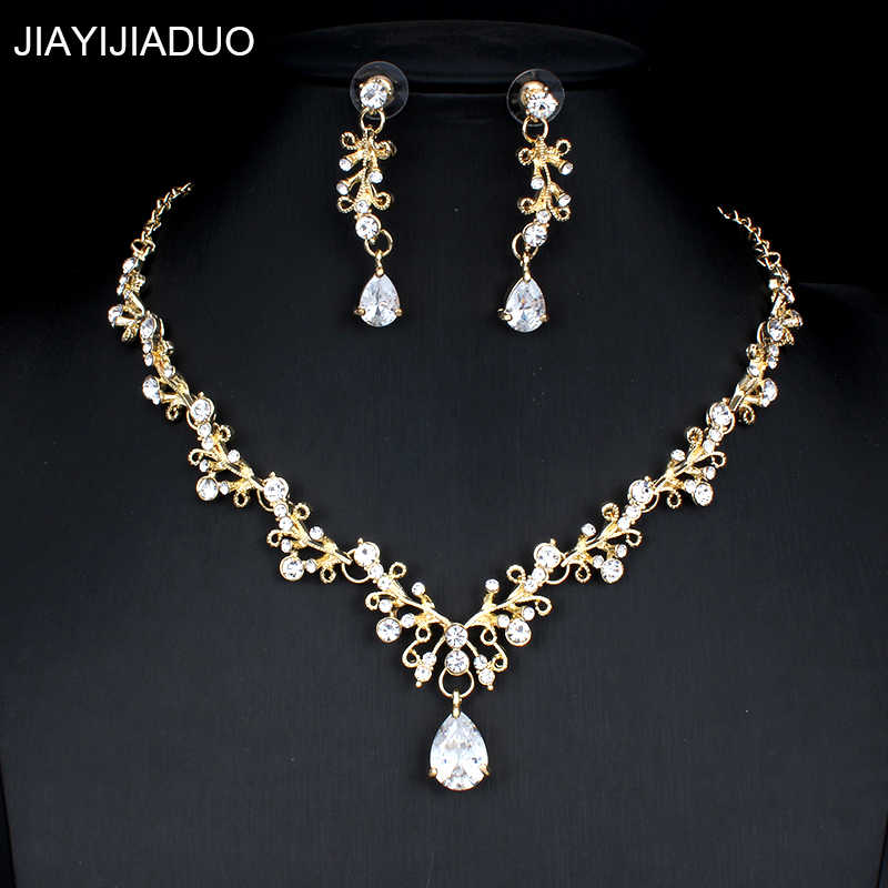 jiayijiaduo Bridal Jewellery Set for Noble Women Wedding Dress Accessories Crystal Necklace Earrings Set Gold Color dropshipping