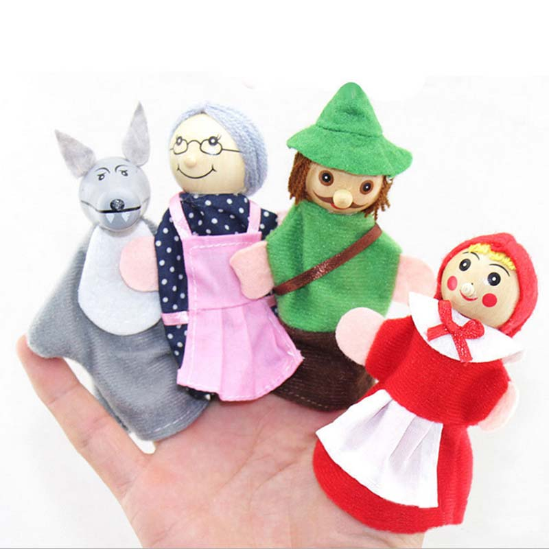 4Pcs Kids Little Red Riding Hood Finger Puppets Baby Plush Educational Toy Christmas Gifts fantoche de dedo