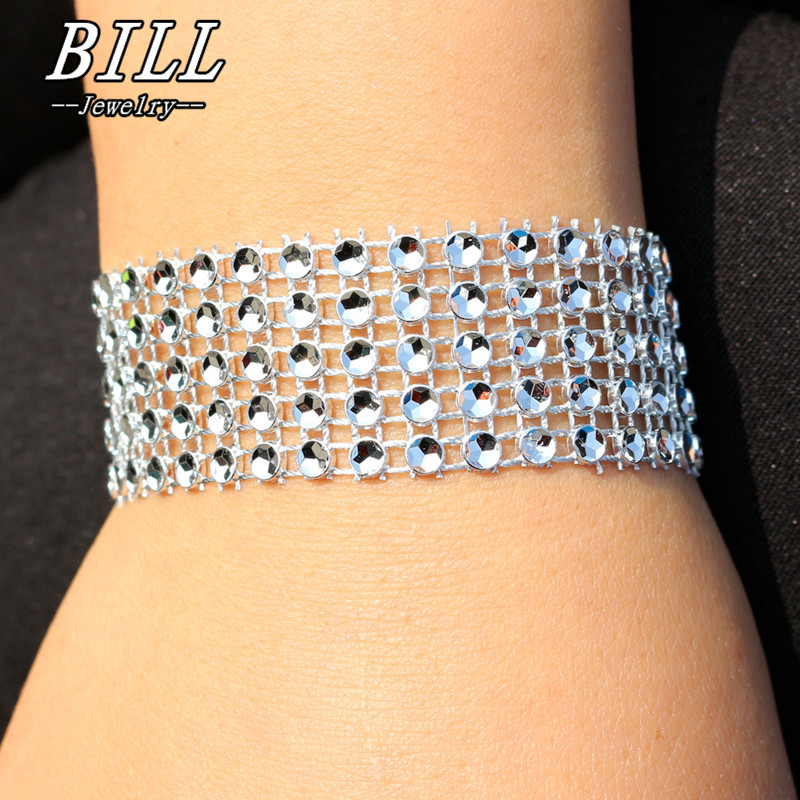 SL199 5 Row Punk Bracelet For Women Charm Wedding Engagement feminina pulseras mujer Bracelets & Bangles American & European NEW