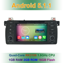 Quad Core 1024*600 Android 5.1.1 Car DVD Radio Player for BMW 3 Series E46 M3 with BT WiFi Canbus GPS Navigation