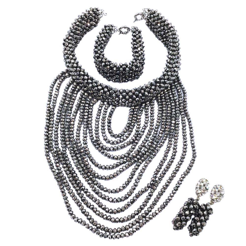 Argent perles africaines ensemble de bijoux 2018 nigérian mariage perles africaines pour les mariées fête nuptiale bijoux ensemble livraison gratuite WDK-003