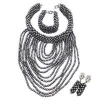 Silver African Beads Jewelry Set 2018 Nigerian Wedding African Beads for Brides Party Bridal Jewelry Set Free Shipping WDK 003