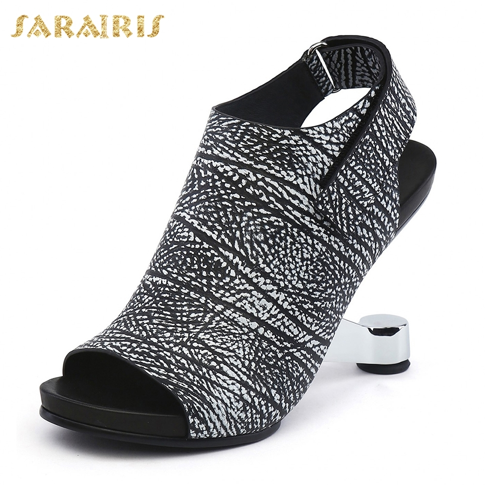 SARAIRIS 2018 Genuine Leather Hot Sale Strange Style Women Sandals Shoes Woman Open Toe Party Sandals Woman Shoes women shoes woman sandals 2017 dress office party casual strange style genuine leather peep toe crystal bling platform shoes