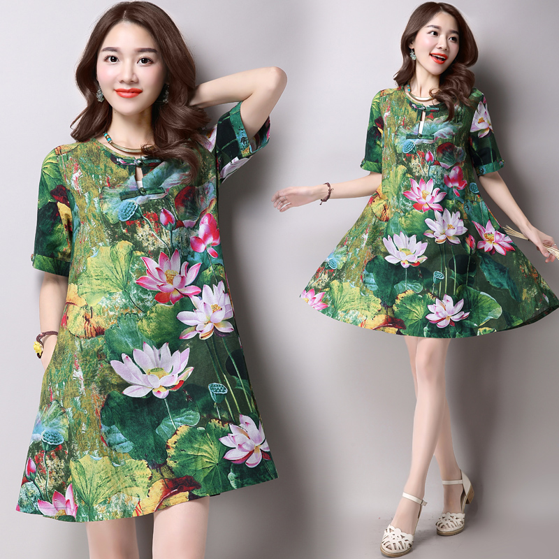 Annie store hot sale 2016 new fashion plus size women dress slim  short sleeved Lotus print female printing dress 931B 25