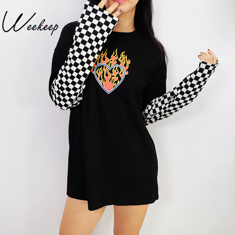 Weekeep Women Plaid Patchwork Long Sleeve Flaming Heart Print Sweatshirt 2017 Autumn Winter Black Checkboard Pullover Hoodies(China)