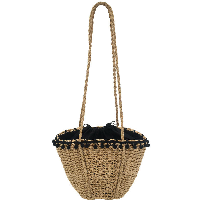 LJQEAST Serve Lace Bohemian Beach Bag Lady Vintage Handmade Straw Summer Travel Tote Drawstring Basket Casual