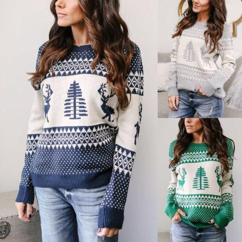 uk womens christmas sweater santa women xmas jumper tee tops - Womens Christmas Sweaters