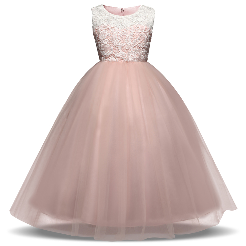 Tulle Girl Party Wear Dress Kids Flower Tulle Long Events Formal ...