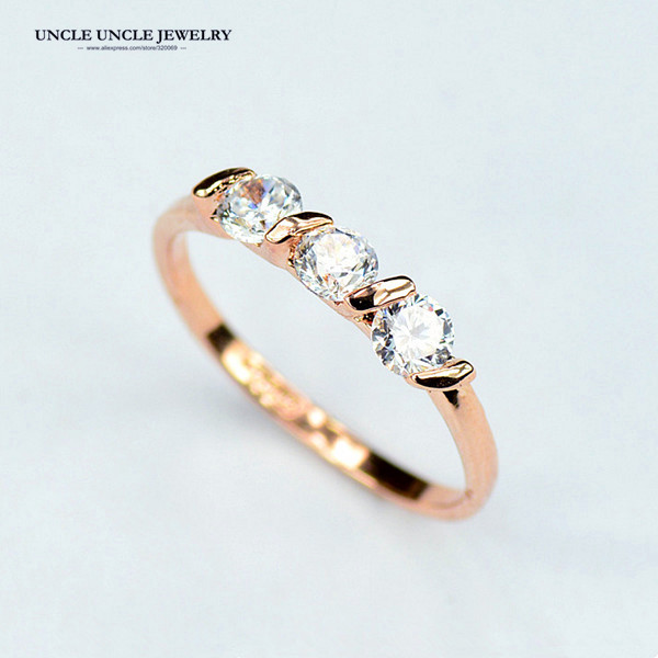 Classic Style!!! Rose Gold Color 0.25ct * 3 Pieces Top Classic Zircon Lady Finger Ring Wholesale