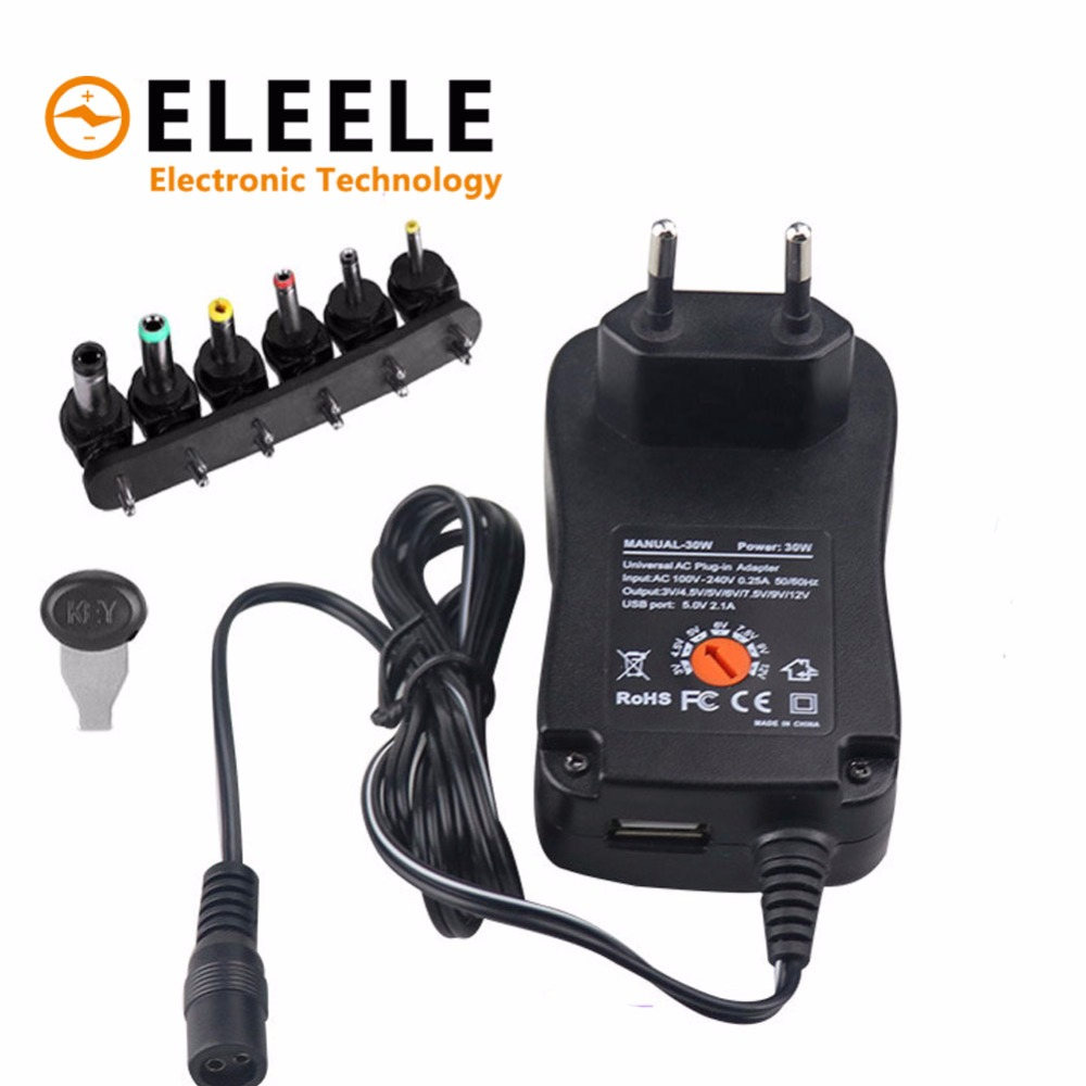 3V 4.5V 5V 6V 7.5V 9V 12V 2A 2.5A AC DC Adaptor Adjustable Power Adapter Universal Charger Supply for led light strip lamp 30W