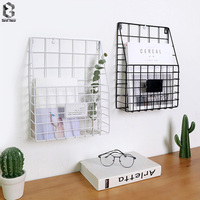 Modern Simple Iron Wall Hanging Storage Basket Magazine Rack Wall Decor For Study Room Decorative
